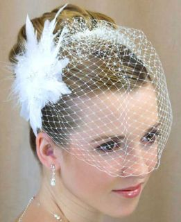 White Wedding Birdcage Bridal Veil Flower Feather Fascinator French
