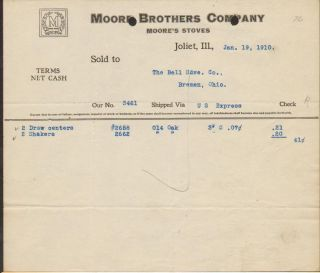 Brothers Stoves 1910 Moore Trade Mark Bell Hardware Bremen Ohio