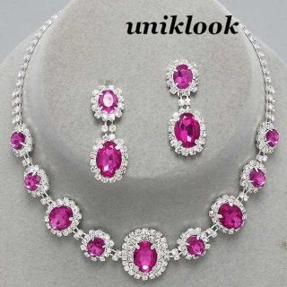 Bridesmaid Bridal Clear & Pink Crystal Jewelry Necklace Earrings Sets