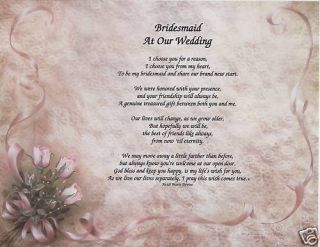 Bridesmaid Wedding Poem Personalized Name Lace Print