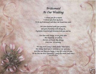 Bridesmaid Wedding Poem Personalized Name Lace Print
