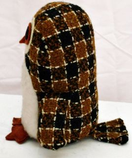 Vintage 60s Brendatoys Brown Wool Plaid Kapok Stuffed Owl Mod Folk Art