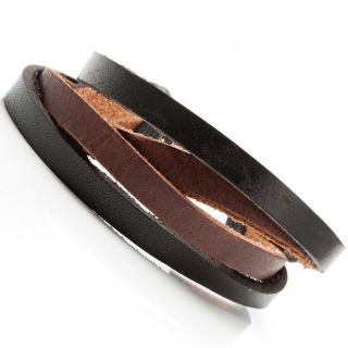 Combo Chic Black N Brown Mens Leather Bracelet Cuff Jewelry