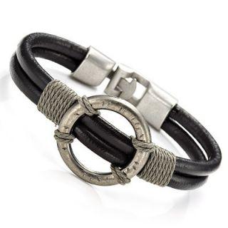 Stunning Mens Black Roman Style Leather Steel Bracelet Cuff Jewelry