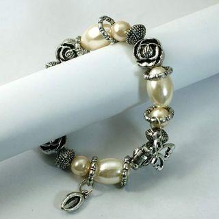 White Elastic Oval Beads Silver Flower Dangle Bracelet Costume
