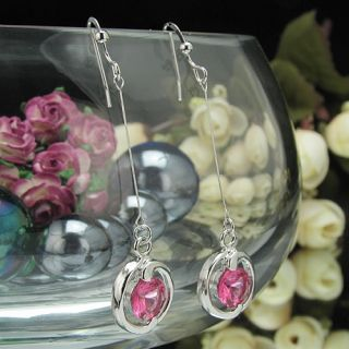 2x7mm Orchid Red Ruby Round Cut 18K White Gold Plated Long Dangle