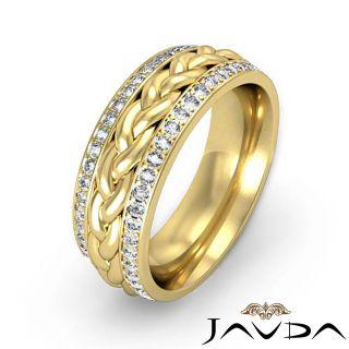 Men Eternity Wedding Band Braided Design 14k Gold Yellow 0 57ct