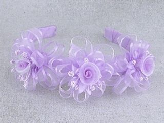 Girls Lilac Purple Ribbon 3 Flower Headband Wedding Flower Girl
