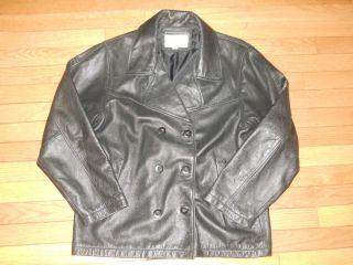Brandon Thomas Black Leather Coat Jacket Womens Size M Medium