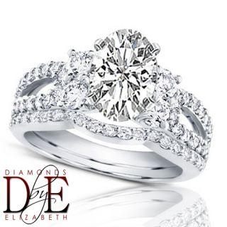 Diamond Bridal Wedding Ring Set 2 00 Carat Total Oval Shape 14k Gold