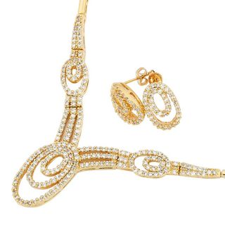 Lady Wedding Jewelry Set Gold Plated Round White Topaz Crystal
