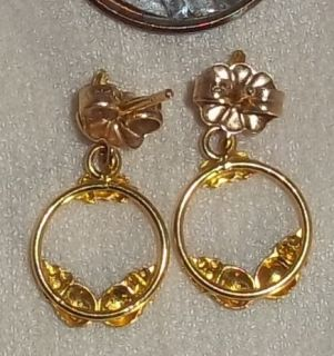 10K & 14 K Tri   Color Gold Earrings, Hoop Dangles, Perfect Christmas