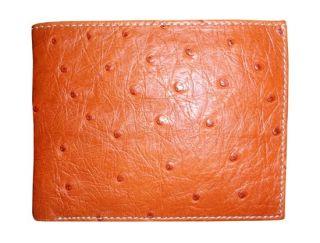 RFID Blocking Genuine Ostrich Leather Wallet Bifold Men