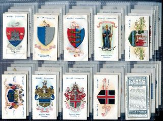 Tobacco Card Set, WD & HO Wills, BOROUGH ARMS, UK Counties, 4th Series