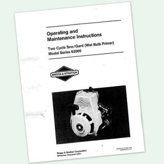 BRIGGS AND STRATTON 62000 TWO STROKE 3hp ENGINE OPERATORS MANUAL SNO