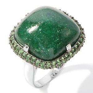Rarities Fine Jewelry Carol Brodie Green Aventurine & Tsavorite Ring