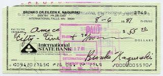signed check BRONKO NAGURSKI chicago bears signature auto pro football