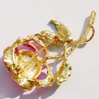 Free Pink Flower Brooch Pin 41 63mm Golden Czech Rhinestone Crystal