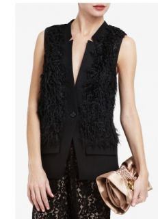 New BCBG Black Braxton Faux Fur Vest Jacket s $308 TCL4E368