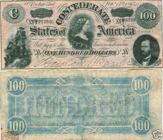 1864 $100 CONFEDERATE STATES CIVIL WAR NOTE    LUCY PICKENS    VERY