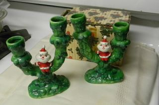HOLT HOWARD POTTERY CHRISTMAS SANTA CANDLEHOLDERS VINTAGE HOLT HOWARD