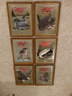 MILLER HIGH LIFE WILDLIFE BEER SIGNS MIRRORS FIRST 1ST SERIES SET OF