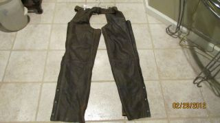 Mens Harley Davidson Brown Leather Chaps L Large, pre owned