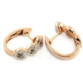 FANCY CHOCOLATE BROWN DIAMOND HOOPS HUGGIE EARRINGS 14K ROSE PINK GOLD