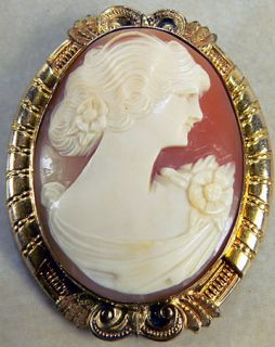 Vintage 1 20 12K G F Carved Shell Cameo Pin Brooch