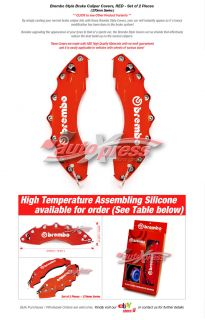 Brembo Style Brake Caliper Covers Front Red Large 2pc