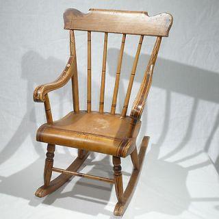Vintage Antique Rocking Chair Wicker Wooden Cherry 1900