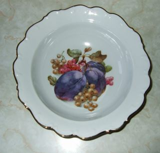 Schumann Arzberg Germany Serving Bowl Fruit Design with Gold Trim