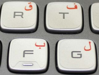 arabic keyboard stickers transparent red for centered english letters