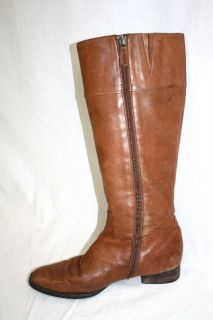 Trendy Chaps Ralph Lauren Brown Leather Flat Knee High Boots Shoes 8