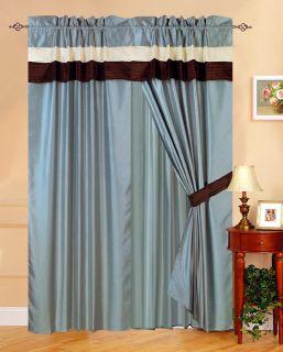 New Faux Silk Curtain Panels Blue Beige Brown Veneto