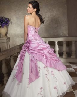 Stock Lilac White Quinceanera Prom Wedding Dress Size 6 16