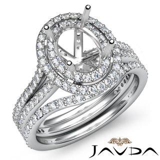 2ct Diamond Ring Oval Bridal Sets Setting Platinum S5 5 Engagement