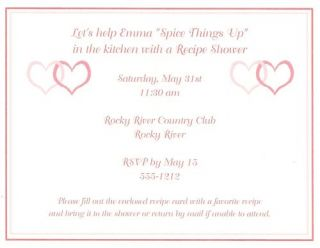 Heart Bridal Shower Invitation Matching Recipe Card