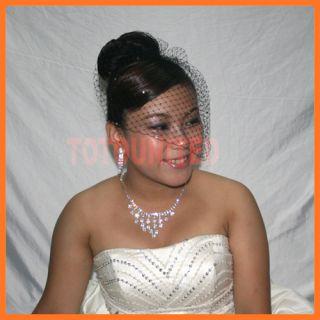 Bridal Veils 9 Rhinestones Birdcage Blusher Russian Net Black