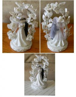Wedding Cake Topper AppleTree Bride Groom with porcelain flowers New