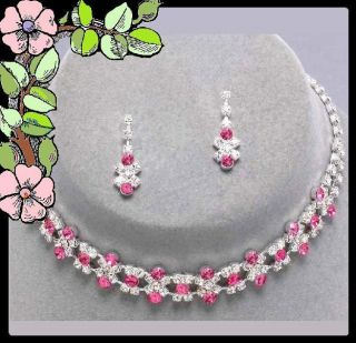 Pink Silver Necklace Set Wedding Bridesmaid Jewelry New Boxed