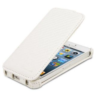SHIFT Carbon Fiber Flip Leather Case for Apple iPhone 5 (White