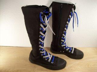 Vintage Demonia Punk Goth Hipster Knee High Womens Black Canvas Boots