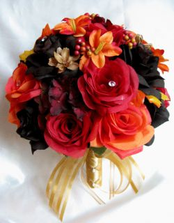 Wedding Bouquet Bridal Silk flowers BROWN RED ORANGE LILY FALL 17 pc
