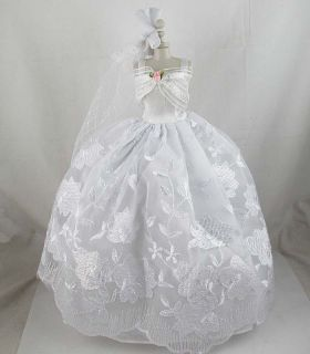 Fashion Style Handmade Wedding Clothes Dress Gown For Barbie Doll