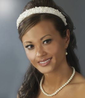 White Bridal Headband w Swarovski Crystals Rhinestones and Pearls