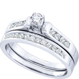 Diamond Bridal Wedding Set Ring 0 50 Ct Round Cut 14k White Gold 46760