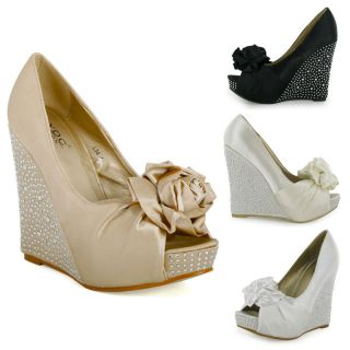 Peeptoe Wedge Heels Womens Bridal Shoes Size 3 4 5 6 7 8 UK