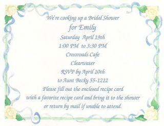 Bridal Shower Invitation Matching Recipe Card Custom