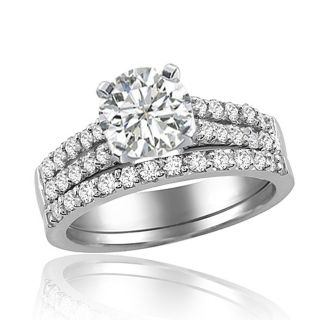 65 Carat Round Cut Diamond Bridal Set Ring in 14k Gold